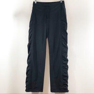 Athleta Ruched Sides Lined Black Pants Sz 2
